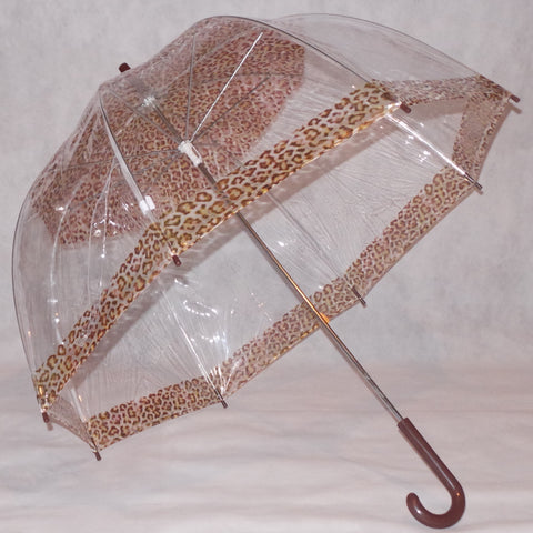 Ladies Umbrella Dome Clear Ocelot Print