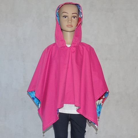Girls Reversible Pretty Poncho Pink
