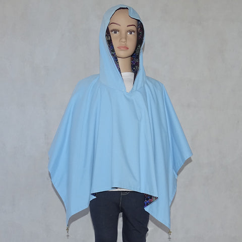 Girls Reversible Pretty Poncho Blue