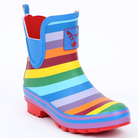 Evercreatures Ladies Ankle Wellies Rainbow
