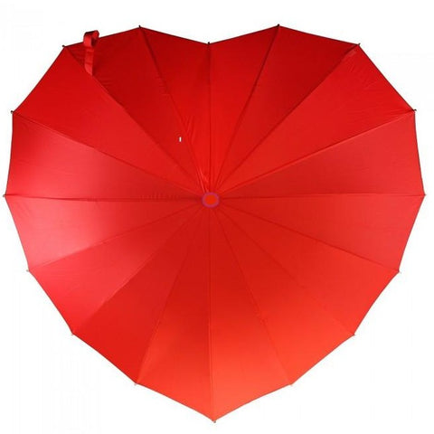 Ladies Umbrella Heart Shape Red