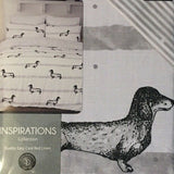 Reversible Dachshund Duvet Set Grey