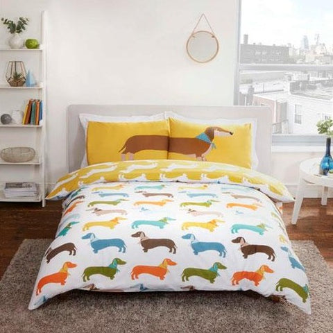 Reversible Dachshund Duvet Set Multi