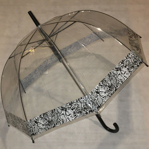 Ladies Umbrella Dome Snake Print Border
