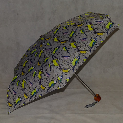 Ladies Umbrella Telescopic Bird Print Grey