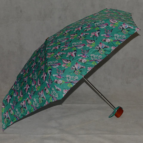 Ladies Umbrella Telescopic Bird Print Green