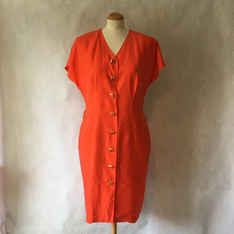 Ladies Retro Dress Orange with Buttons