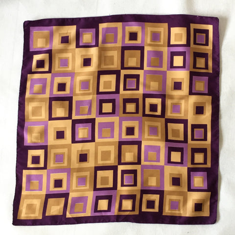 Ladies Retro Scarf Purple Square Design Print