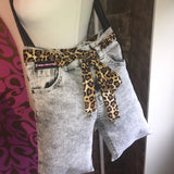 Jeans Bag Leopard Print Fabric Belt Head Band