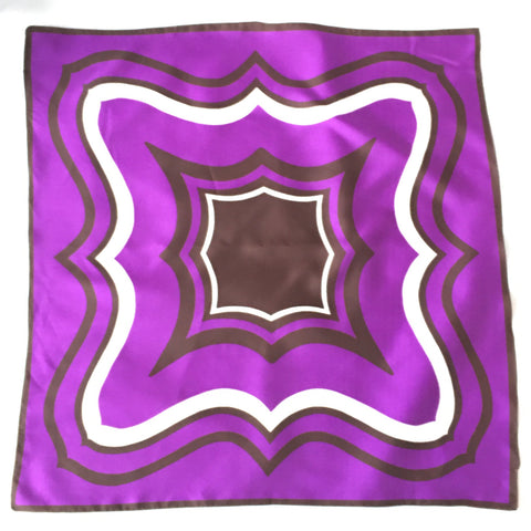 Ladies Retro Scarf Purple and Brown Print
