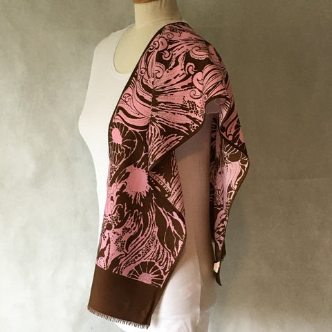 Ladies Retro Scarf Pink and Brown Design Print