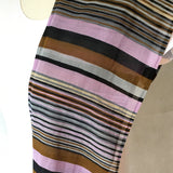 Ladies Retro Scarf Purple and Brown Stripe Print