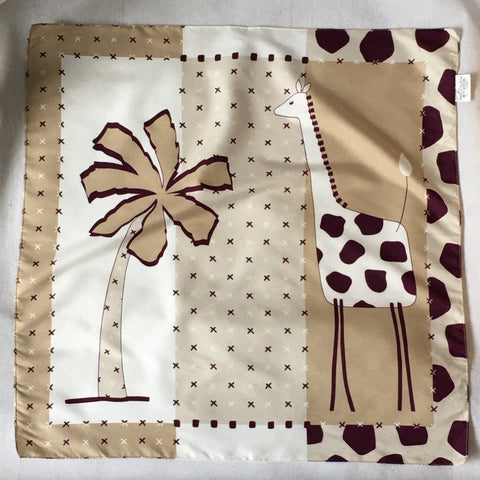 Ladies Retro Scarf Giraffe and Tree Print
