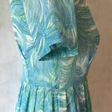 Ladies Retro Dress Green and Blue Print