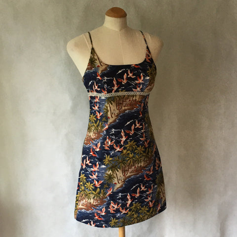 Girls Retro Dress Navy Beach Scene Print