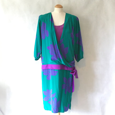 Ladies Retro Dress Green and Purple Floral