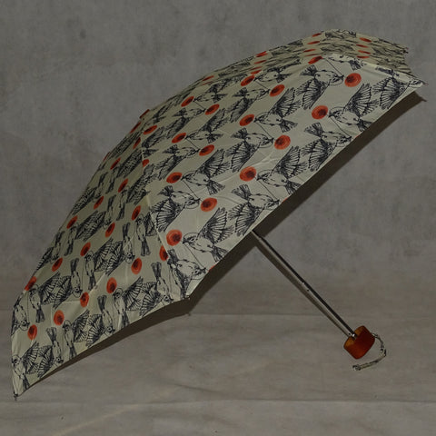 Ladies Umbrella Telescopic Bird Print Ivory