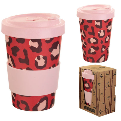 Eco Friendly Bamboo Travel Cup Leopard Print