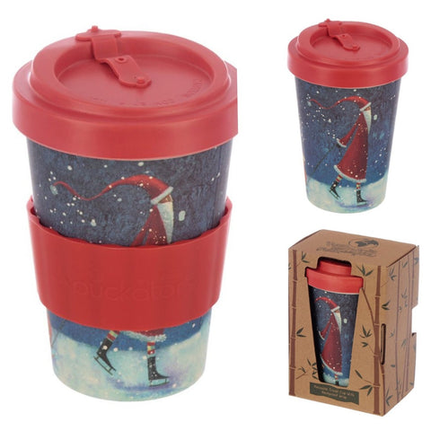 Eco Friendly Bamboo Travel Cup Santa Design