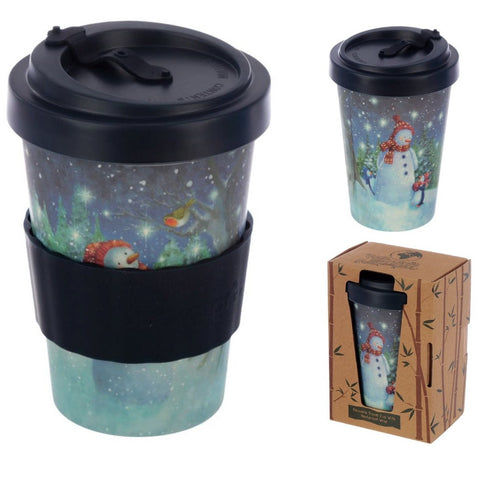 Eco Friendly Bamboo Travel Cup Snowman