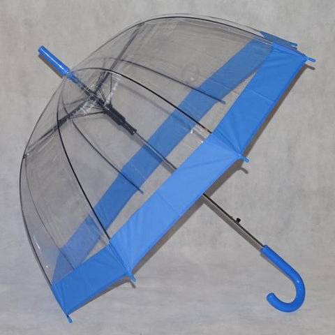 Ladies Umbrella Dome Clear Border Blue