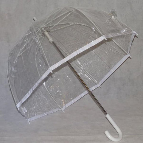 Ladies Umbrella Dome Clear Border White