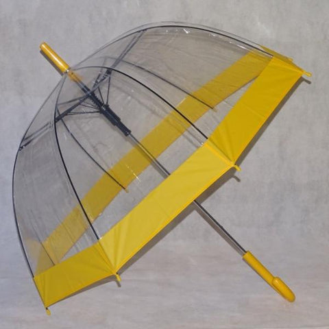Ladies Umbrella Dome Clear Border Yellow