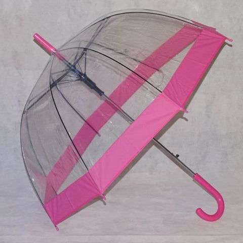 Ladies Umbrella Dome Clear Border Pink