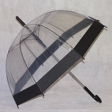 Ladies Umbrella Dome Clear Border Black