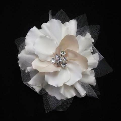 Champagne Bridal Flower Clip