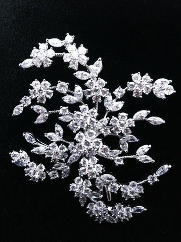 Crystal Floral Spray Brooch