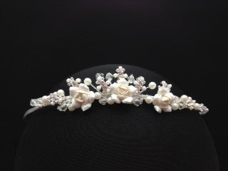 Delicate Tiara with Flower and Pearl Details