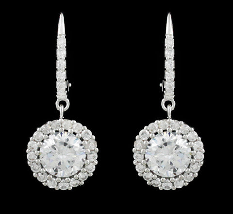 Silver Clear Cubic Zirconia Round Halo Drop Earrings
