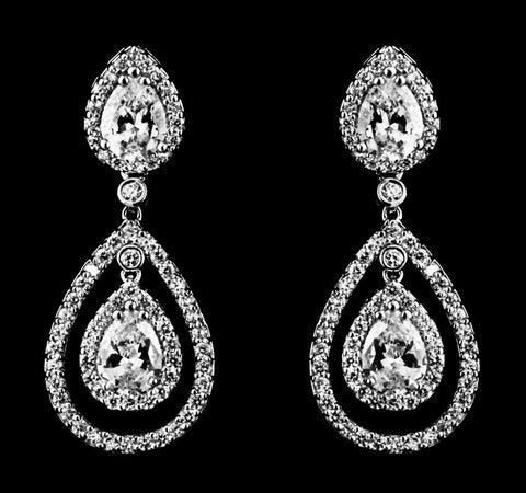 Double Tear Drop Bridal Earrings
