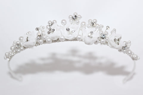 Pearl and Fabric Textured Communion Tiara