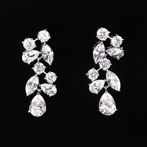 Crystal Cluster Bridal Earring