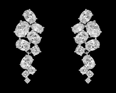 Chunky Clustered Cubic Zirconia Earrings for Brides or Special Occasions