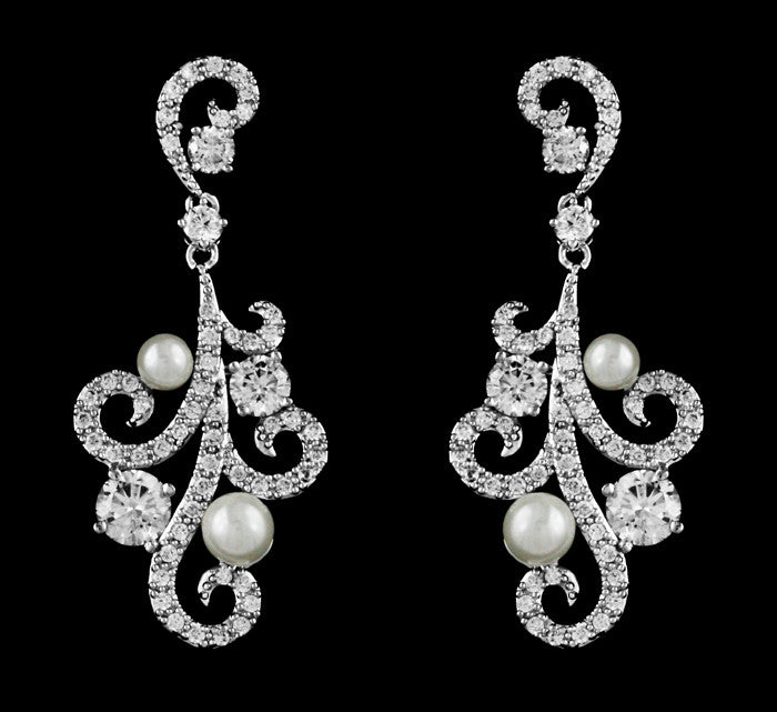 Cz Crystal and Pearl Swirl Chandelier Earrings - Perfect Accent
