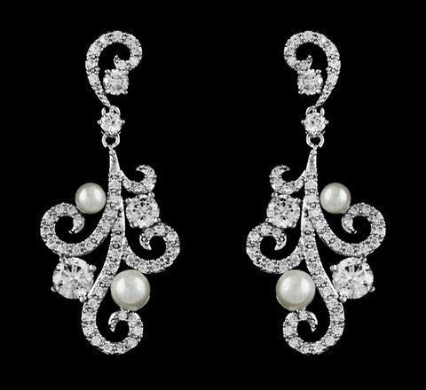Cz Crystal and Pearl Swirl Chandelier Earrings