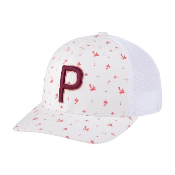 WHITE 'PALMS' TRUCKER P SNAPBACK GOLF CAP - MEN / 2021