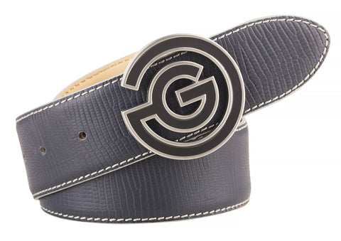 GREY WESLEY LEATHER BELT   - AW17