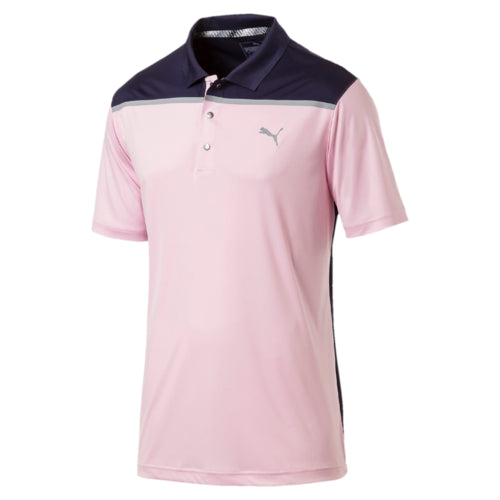 PINK BONDED COLOURBLOCK POLO - MEN'S / SS19