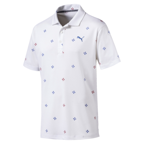 White 'Ditsy' Golf Polo - MEN / AW19