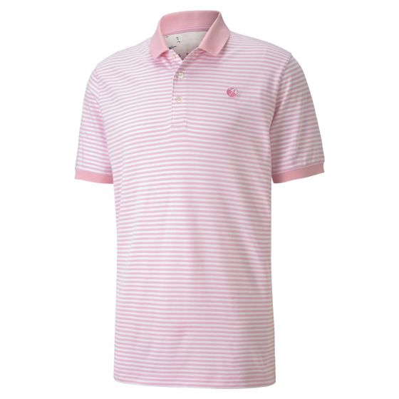 PINK 'SIGNATURE STRIPE' Golf Polo Shirt - Arnold Palmer X PUMA / MEN