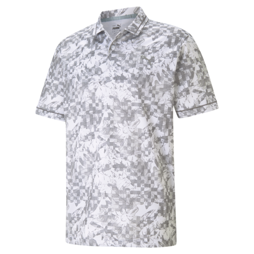 GREY 'TECH PIQUE BOTANICAL' GOLF POLO - MEN / 2021
