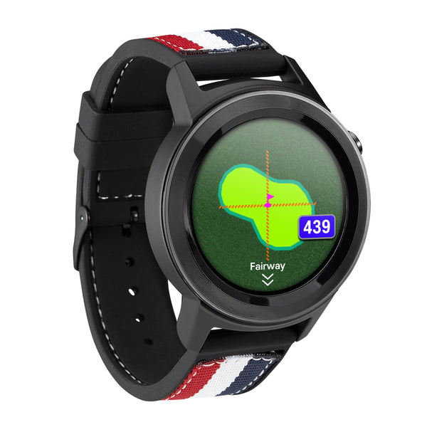 Black 'AIM W11' GOLF GPS GOLF WATCH (2 Straps  - 1x red/white/blue & 1x black)