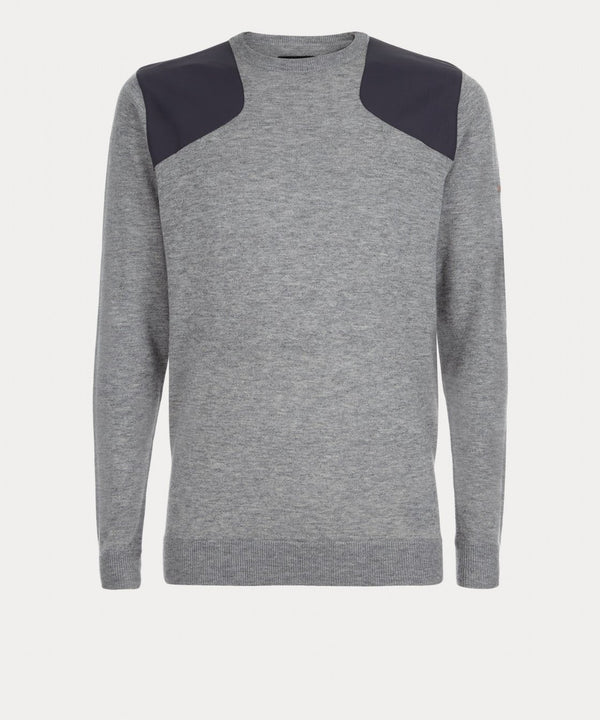 GREYM SHELL PANEL CREW NECK SWEATER   -