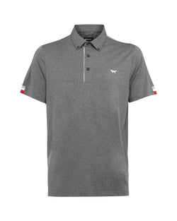 GREY MELANGE TIPPING SLEEVE POLO   -