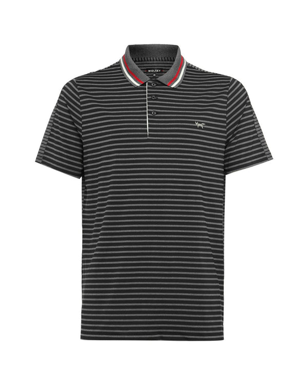 GREY MEL STRPE SPLIT POLO   -