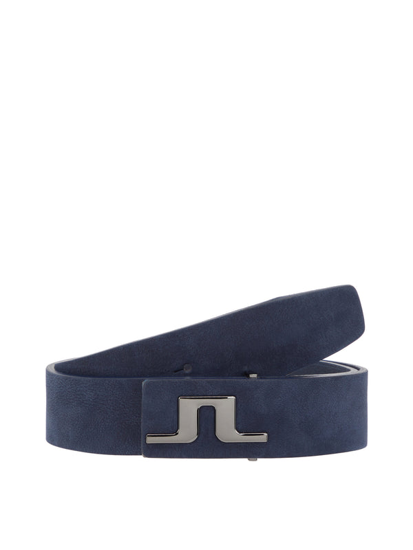 JL Navy Carter Brushed Leather Belts - Men's / AW18